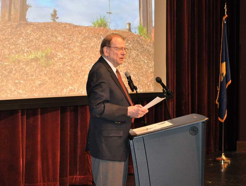 GAZETTE PHOTO: BLAIR STENVICK - Interim Mayor Lee Weislogel delivered the Sherwood State of the City address Monday at the Sherwood Center for the Arts.