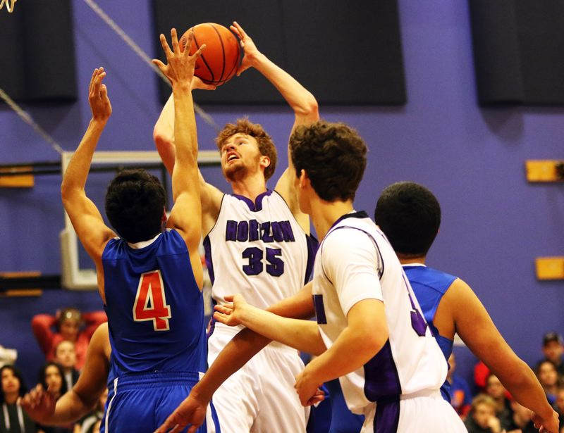 DAN BROOD - Horizon Christian senior Anthony Sprauer, (35) shown here during a state playoff win over Umatilla, was a second-team Class 3A all-state tournament selection.