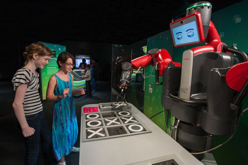COURTESY: J.B. SPECTOR/MUSEUM OF SCIENCE AND INDUSTRY - The 'Robot Revolution' exhibit at OMSI is split into four themes: Cooperation, Smarts, Skills, Locomotion. The exhibit also features robots from Oregon colleges and companies. You can play tic-tac-toe with Baxter.