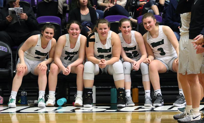 DAN BROOD - The Tigard starters (from left) Kennedy Brown, Paige LaFountain, Dani Lyons, Delaney Leavitt and Campbell Gray are ready to go prior to Wednesday's game.
