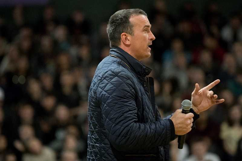 TIMES PHOTO: JAIME VALDEZ - Former NBA player Chris Herren talks with the students at Tigard High School about his addictions to alcohol and drugs such as opioids during an assembly at the high school.