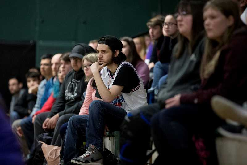 TIMES PHOTO: JAIME VALDEZ - Students at Tigard High School listen to former NBA player Chris Herren about his strugglers with alcohol and drugs such as opioids during an assembly at the high school.