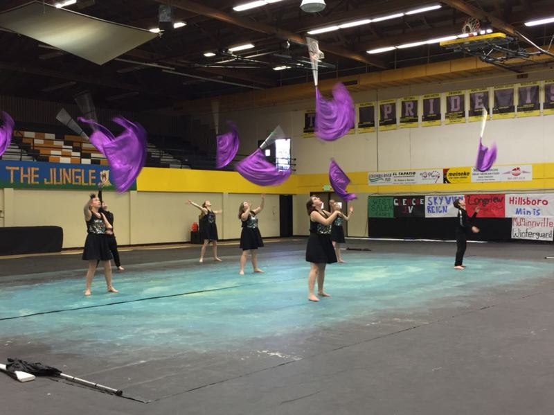 PHOTO COURTESY OF KRISTINA SAUL - The St. Helens High School Winter Guard took home a fourth-place award at its home competition, the Columbia River Winter Arts Invitational, on Saturday, Feb. 24.