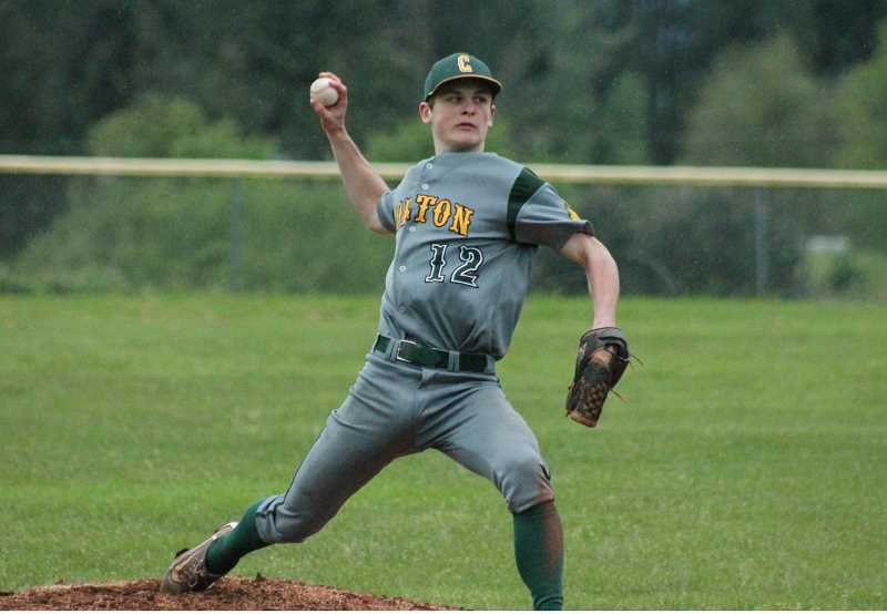 PIONER FILE PHOTO  - Colton senior Dawson Hall delivers a pitch during a home game last season. Hall will likely move into the number one pitching spot after Vest's graduation, splitting time again between the mound and short stop.