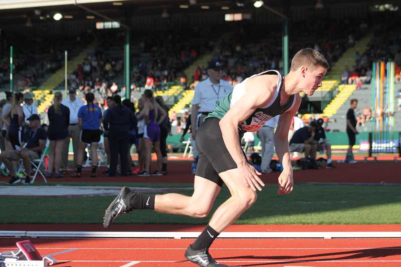 PIONEER FILE PHOTO  - Colton senior Evan Rasor bursts out of his starting block during the 400 meter dash finals of the 2017 state championship meet at the University of Oregon last season. Rasor took two silvers and one bronze at state last year.