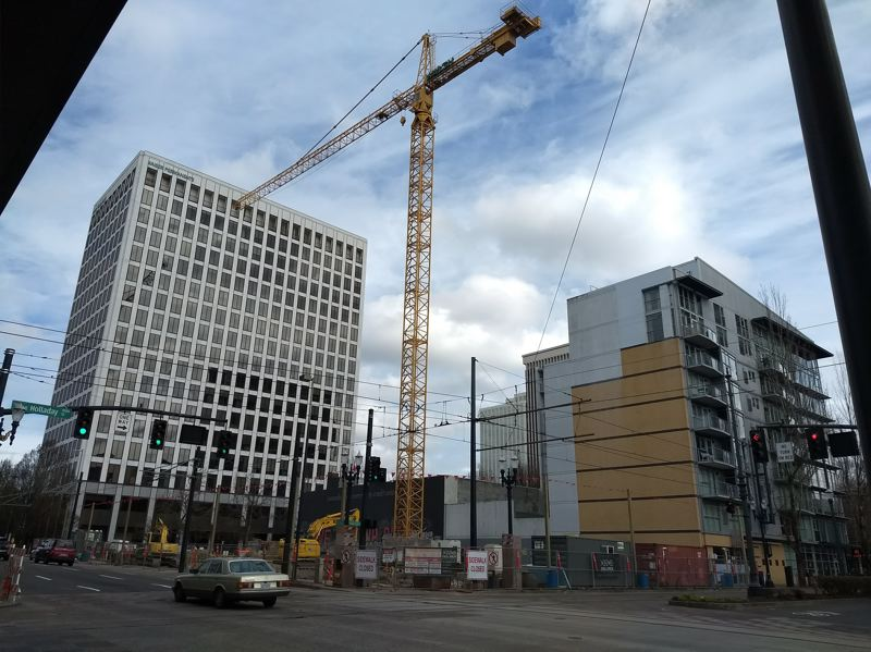 PAMPLIN MEDIA GROUP: JULES ROGERS - The boom crane was recently installed at Block 45, the location of the half-block NE Grand Apartments, which will add 240 affordable housing units to the Lloyd District.