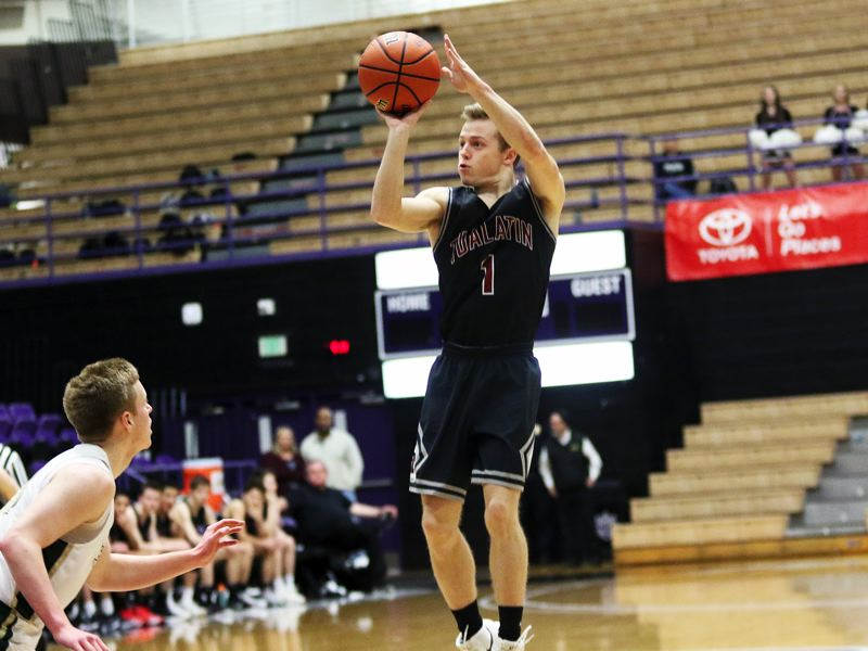 DAN BROOD - Tualatin junior Caden Dickson shoots a jumper during the Wolves' state tournament win over Jesuit on Friday.