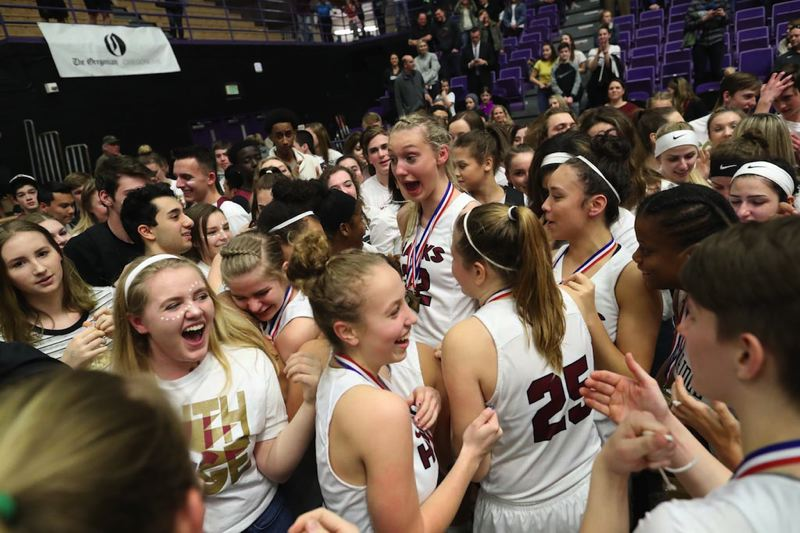 TIMES PHOTO: JAIME VALDEZ - The Southridge girls basketball team won its second straight Class 6A state championship on Saturday, beating Benson in the title bout.