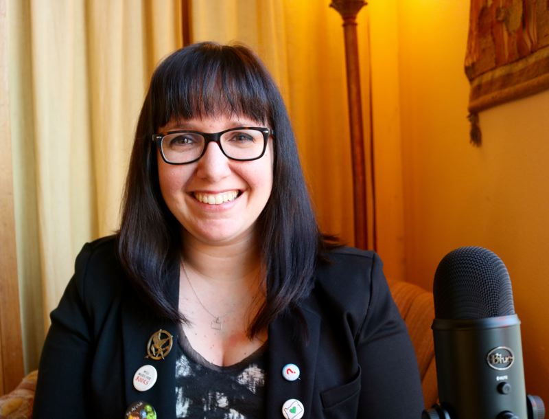OUTLOOK PHOTO: ZANE SPARLING  - Gresham resident Stephanie Csaszar launched her podcast, To the Stacks and Beyond, on Friday, March 9.
