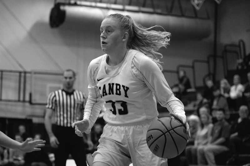 ARCHIVE PHOTO: TANNER RUSS - Canby senior Hannah Myers was one of the teams leading scorers over the 2017-18 season, and helped lead the team into the post season. Myers finished her tenure on Canby's team as one of its three captains.