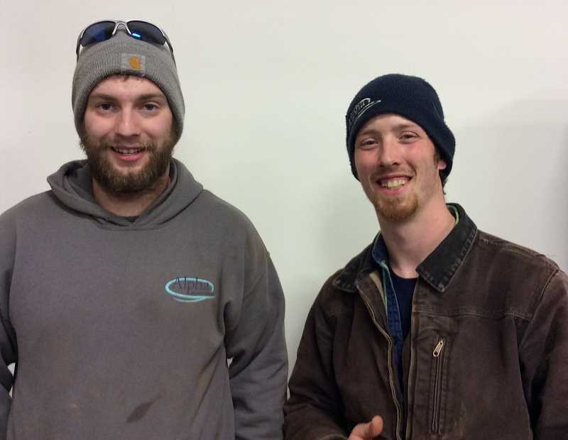 CONTRIBUTED PHOTO: OREGON LOTTERY - Zak Sowards and Spencer Hardman both won Oregon video lottery jackpots after a tough week replacing a septic tank.