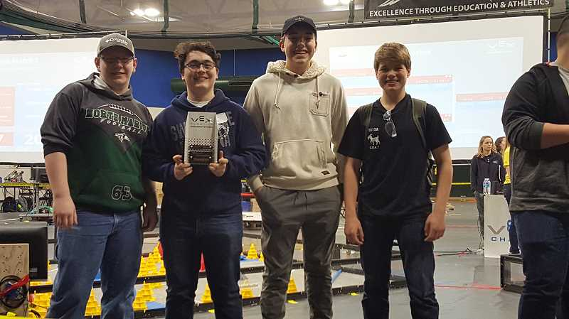 COURTESY PHOTO: SHERIE MORAN - North Marion High School's Team 1812A placed first in the Bronze Division on Saturday at the Oregon State VEX Robotics Championships at Chemeketa Community College in Salem. The team is made of up Hunter Wierstra, Jai Levine, Wyatt Jeppersen and Calvin Sahlin.