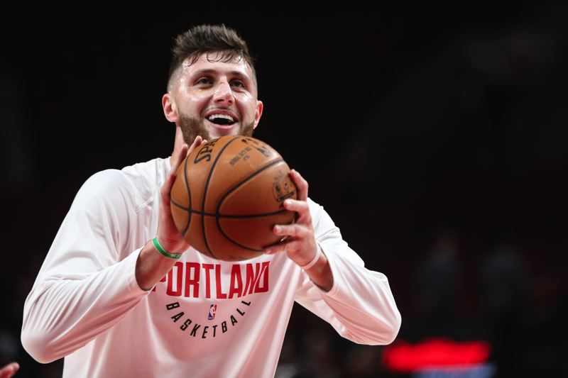 TRIBUNE PHOTO: DAVID BLAIR - Jusuf Nurkic, the beneficiary of guidance and support from Trail Blazers guard Damian Lillard, has picked up his play in Portlands recent turnaround.