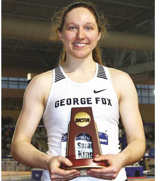 GFU PHOTO - Annie Wright set a school record with 3,611 points to place second in the pentathlon Friday at the NCAA Division III indoor track and field championships Friday in Birmingham, Ala. The Bruin women had three All-Americans and finished tied for 11th with 19 points.
