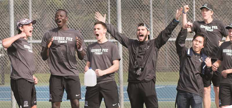 GFU PHOTO - The George Fox men's tennis team celebrates during an 8-1 home victory Sunday over Whitworth. The Bruins also upended No. 38 Southwestern 7-2 on Monday.