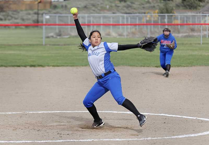 PIONEER FILE PHOTO - Jiana Smith-Francis (above) and Lizzie Steuart, both all-league pitchers last year, complement each other well as Madras' top options in the circle.