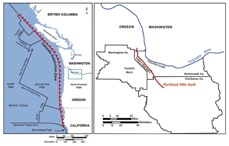 OREGON DEPARTMENT OF GEOLOGY AND MINERAL INDUSTRIES - Location of the Cascadia Subduction Zone fault line and the Portland Hills fault line.
