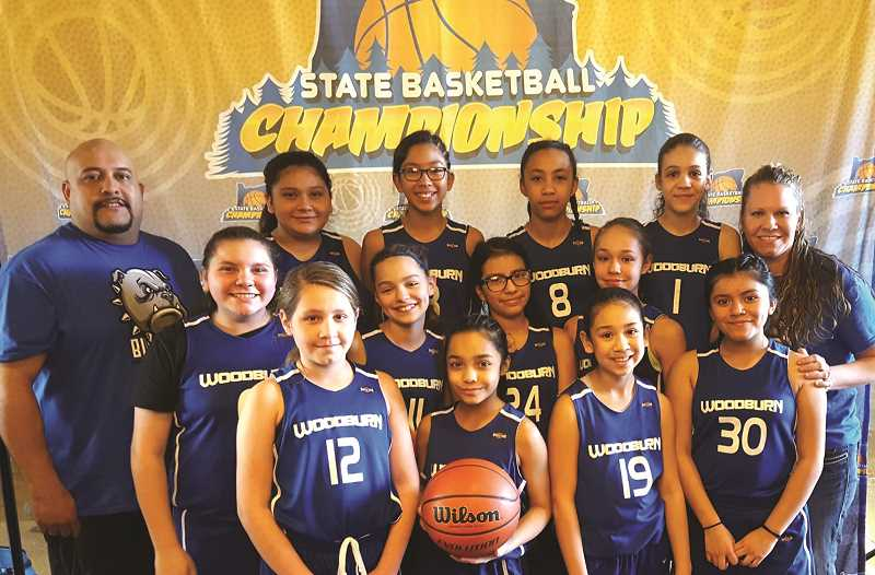 AMY BLEM-RAMIREZ - The Woodburn girls sixth grade team won the 2018 Middle School State Championship in the silver bracket on March 4, completing an undefeated weekend at the state tournament in Redmond in only the second season of basketball for the Woodburn middle school girls AAU program.