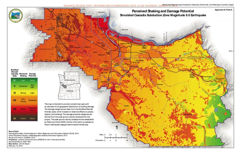 COURTESY OREGON DEPARTMENT OF GEOLOGY AND MINERAL INDUSTRIES  - A new study charts the projected shaking and damage potential of a Cascadia Subduction Zone earthquake of magnitude 9.0 on the tri-county area, down to relatively small geographic areas