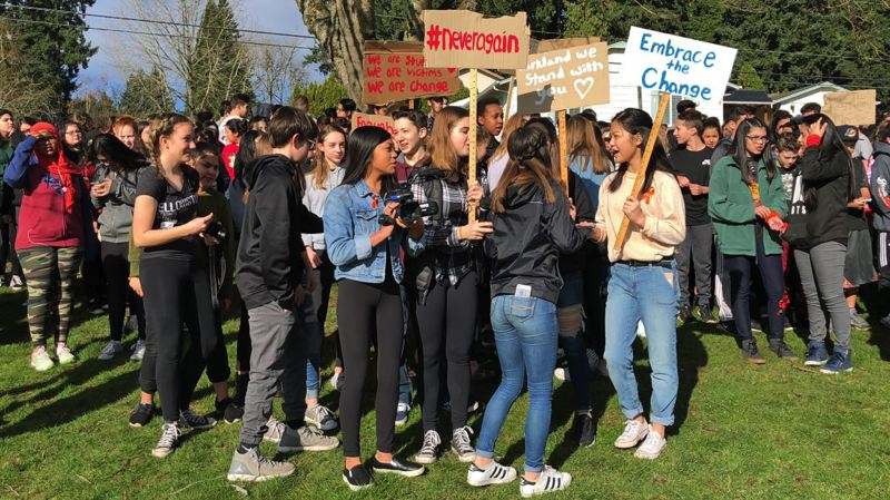 PHOTO: MARICAR FERNANDEZ - Students at Twality Middle School gather Wednesday to protest school violence.