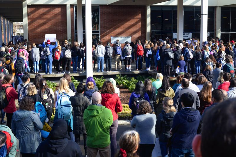 COURTESY PHOTO: TANNER BOYLE - Hundreds of students packed the pavilion in front of the Washburne University Center on Wednesday at Pacific University in a protest against gun violence.