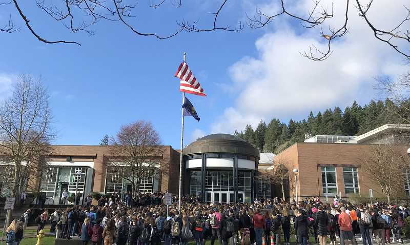 TIDINGS PHOTO: LESLIE PUGMIRE HOLE - The WLWV School District was unable to say how many students in the district participated in the walkout but the majority of schools reported some student activity during the event.