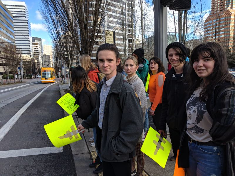 PAMPLIN MEDIA GROUP: JOSEPH GALLIVAN - Lincoln High School students broke away from the school-sponsored event and marched through downtown Portland, trying unsuccessfully to rally students at other schools.