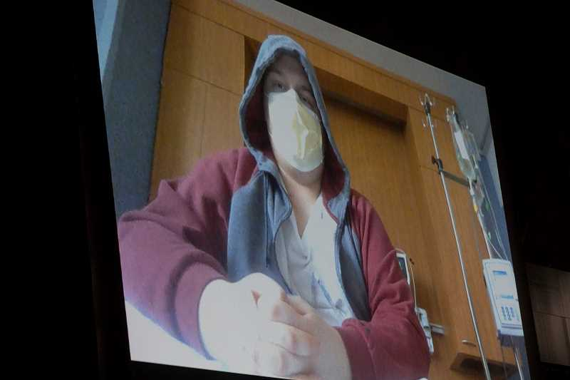 TIMES PHOTO: JAIME VALDEZ - Recovering from surgery and followup treatment involving the removal and replacement of a portion of his femur and his knee, Jakob Witczak appeared via video during an assembly last month by the school's Sparrow Club.