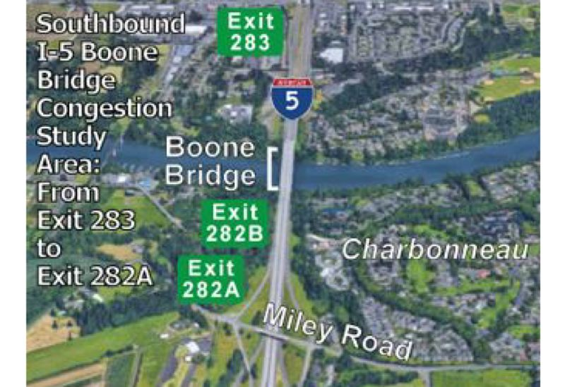 CITY OF WILSONVILLE - The 'extra lane' being studied for I-5 through Wilsonville targets southbound traffic traveling from the city and exited at the Charbonneau or Canby off-ramps.