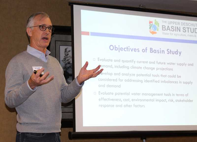 HOLLY M. GILL - Mike Relf, from the regional office of the U.S. Bureau of Reclamation, in Boise, Idaho, discusses the objectives of the Upper Deschutes Basin Study at a meeting March 6.
