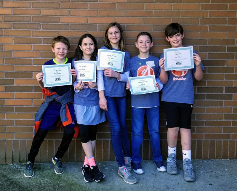 PHOTO COURTESY OF SCAPPOOSE SCHOOL DISTRICT - The Fantastic Four took a first-place victory during the Oregon Battle of the Books regionals, and will now represent Otto Petersen Elementary School at the state competition. Pictured are fifth-graders Quinton Olson, Cate Kinsman, Molly Heimbuck, Maverick Heimbuck and Kade Fisher.