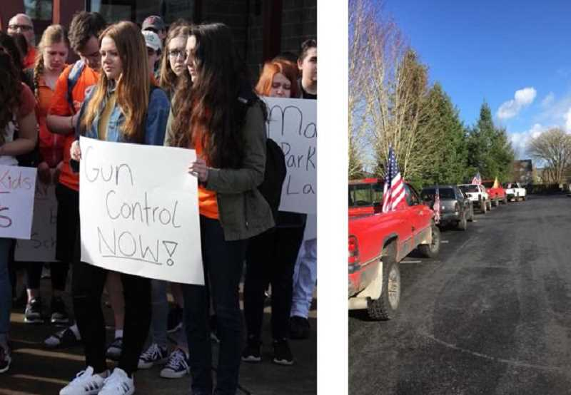 SUBMITTED PHOTOS - LEFT: About 50 Sherwood High students participated in a national walkout against school violence in March. RIGHT: Counter-demonstrators drove cars and trucks with American flags on them during the Sherwood High walkout. They said they supported the Second Amendment.