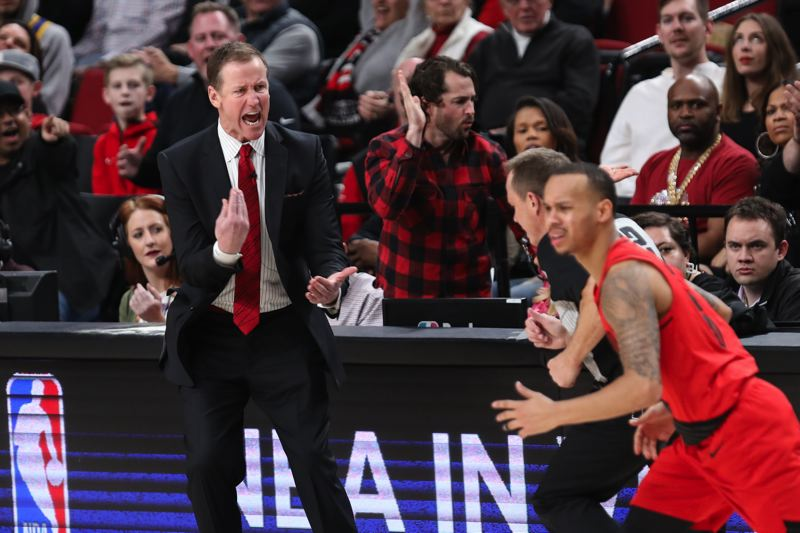 TRIBUNE PHOTO: DAVID BLAIR - Coach Terry Stotts gets fired up along the sideline during a recent Trail Blazers game.