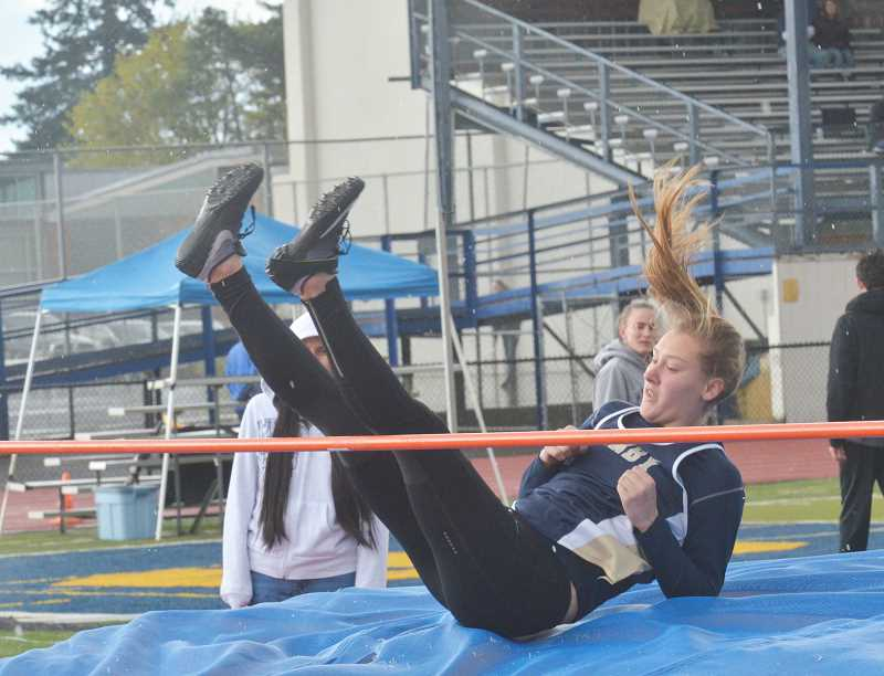 ARCHIVE PHOTO - Canby sophomore Ally O'Dell is one of the top returning athletes for the Cougars girls' track team. The all-around athlete took first place in the teams' pentathlon as they sorted out which competitors would compete in which events.