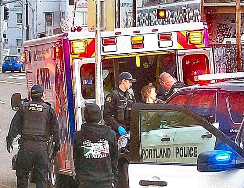 RITA A. LEONARD - Portland Police officers and Portland Fire Bureau paramedics cooperated in the apprehension of a Brooklyn burglary suspect at S.E. Milwaukie Avenue and Woodward Street on Sunday morning, March 4.