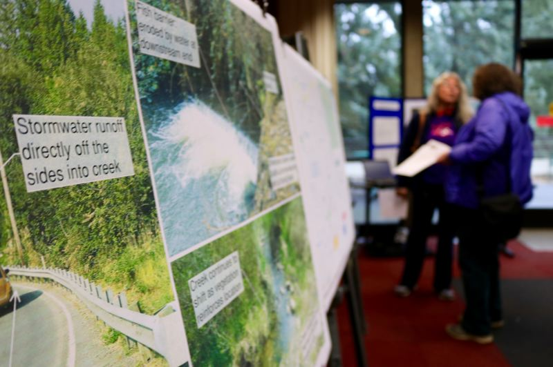 OUTLOOK PHOTO: ZANE SPARLING - Residents discussed the impending closure of Northeast Kane Drive during a community meeting at Mt. Hood Community College on Tuesday, March 13.