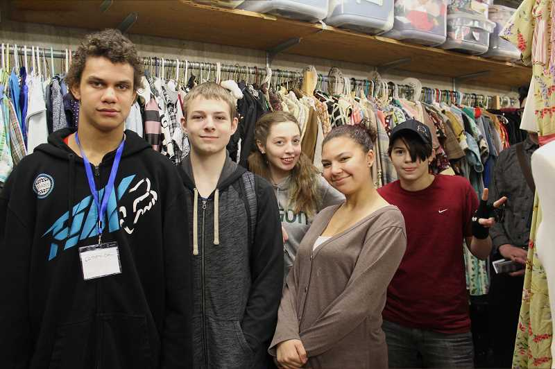 PIONEER PHOTO: KRISTEN WOHLERS - Molalla theater students got a back-of-the-house tour of CCC's costume den after watching the live play 'The Lost Boy' on March 9.
