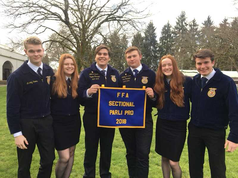 SUBMITTED PHOTO: MACKENZIE BEHRLE - Molalla's Advanced Parliamentary Procedure team advances to the state competition March 23-26 in Redmond, Oregon