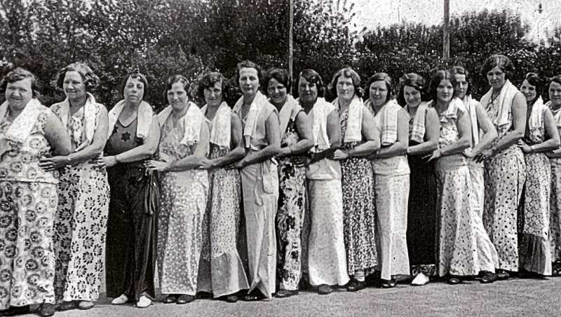 COURTESY OF SELLWOOD COMMUNITY CENTER - Wearing pajamas was a practical fashion in the 1930s. These fashionable ladies were performing a pajama drill - a group exercise conducted while dressed in lounging pajamas. Here, this group was photographed outside the Sellwood Community Center.