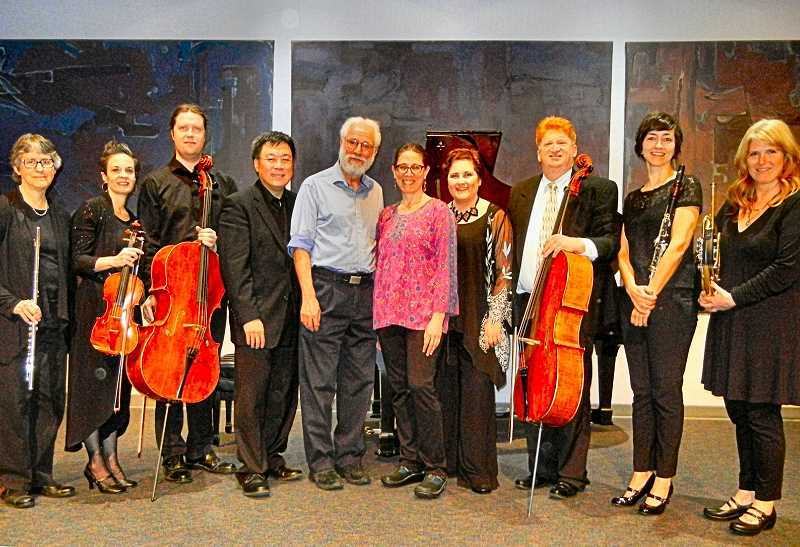 ELIZABETH USSHER GROFF - The Portland Chamber Music ensemble played a concert of compositions from immigrant composers in early March. Included was a piece by Woodstock resident and composer Tony Freixas (shown at center). Deborah Gitlitz (center right) was biographer/storyteller for the performance.