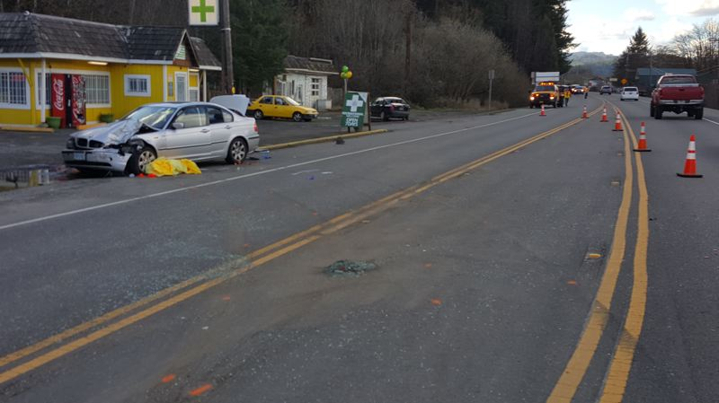 COURTESY PHOTO: OREGON STATE POLICE - An 86-year-old Portland man died after rear-ending a vehicle on Highway 26 in the community of Manning Monday, Oregon State Police said. The fatality was attributed to failure to wear a seat belt.