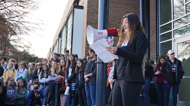 SUBMITTED PHOTO: PHILIP CHAN - At the end of the walkout, three student speakers explain why students decided to walk out and thanked participants.
