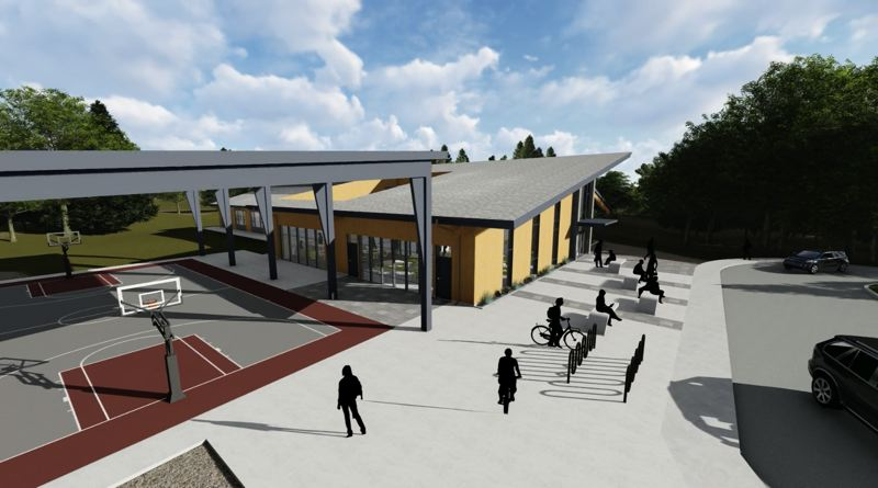 SUBMITTED: SODERSTROM ARCHITECTS - The middle school is designed with one main gym and one auxiliary gym the school can rent out, and will have a track and field for the students and the community.