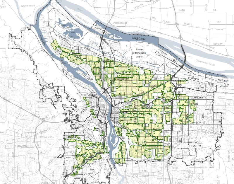 BUREAU OF PLANNING AND SUSTAINABILITY - A map of where the 'missing middle' housing authorized by the Comprehensive Plan update might be built.