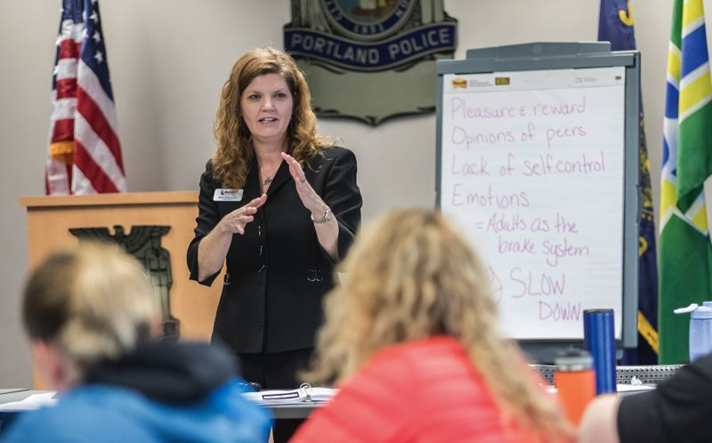 PORTLAND TRIBUNE: JONATHAN HOUSE - NASRO training director Kerri Williamson leads a class for School Resource Officers hosted by the Portland Police Bureau at the downtown Justice Center.
