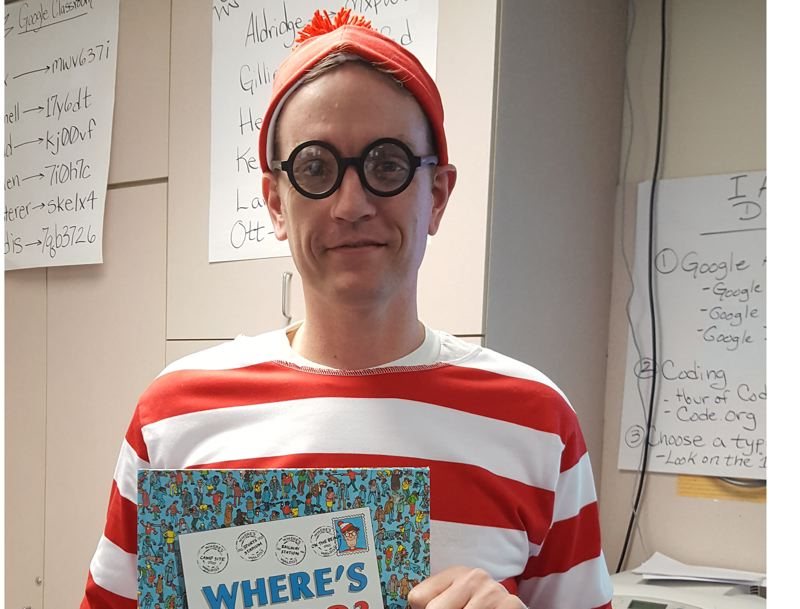 PHOTO COURTESY: LESLIE ROBINETTE - To celebrate Everybody Reads Day, technology teacher Greg Wendling dressed as Waldo, a favorite children's book character.