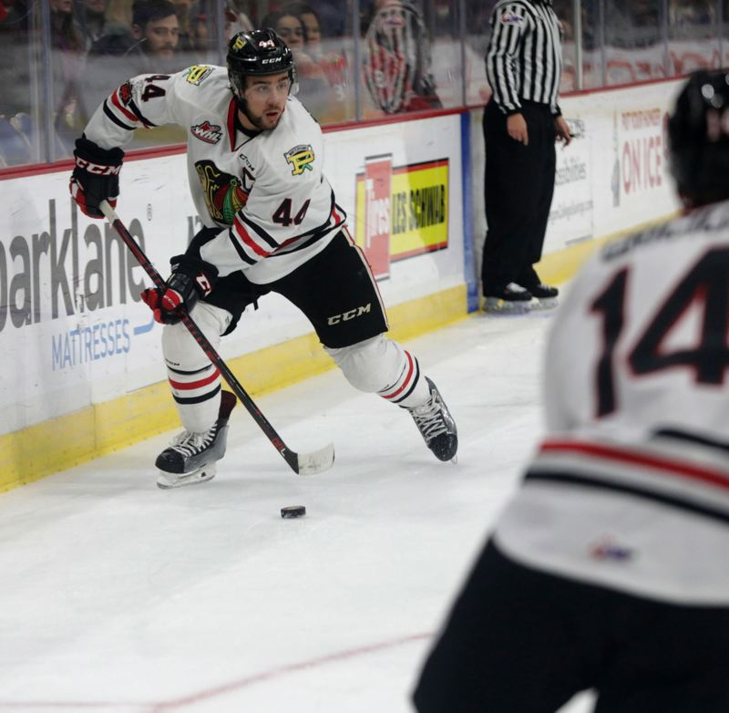 TRIBUNE PHOTO: JONATHAN HOUSE - Keoni Texeira and the Portland Winterhawks figure to have an interesting — and close — matchup with the Spokane Chiefs in the first round of the Western Hockey League playoffs.