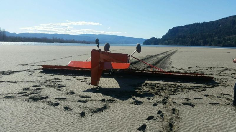 OREGON STATE POLICE PHOTO - The pilot of a small aircraft was rescued and transported to a hospital Tuesday afternoon, after the plane he was flying crashed at Wallace Island during a landing attempt.