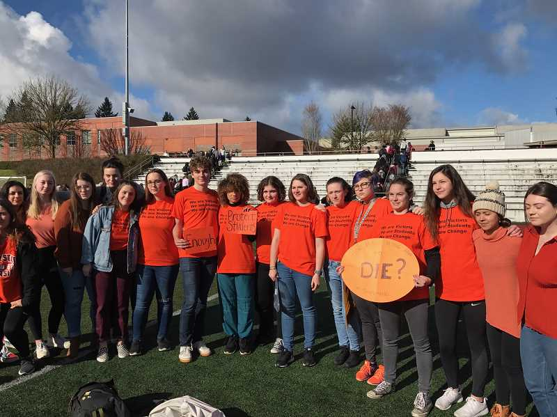 SUBMITTED PHOTO: SIERRA BISHOP - Students wear orange t-shirts in solidarity with the victims of school violence.