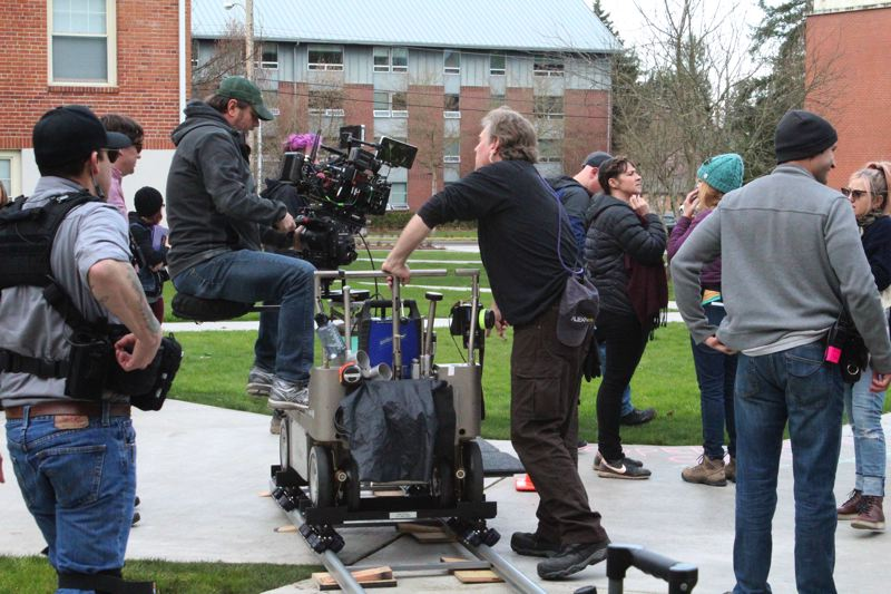 STAFF PHOTO: OLIVIA SINGER - Camera and crew filmed well into the night on Thursday, March 15 on Pacific's campus.